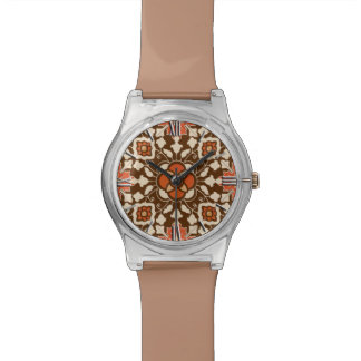 花のモロッコのタイル、ブラウン、錆およびベージュ色 腕時計