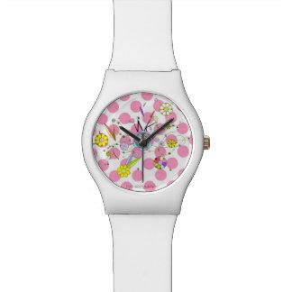 花のモンスターおよびピンク 腕時計