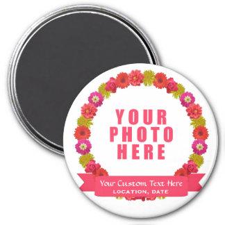 花のリースのカスタムな写真及び文字の磁石 マグネット