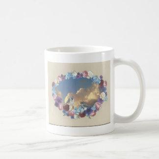 花のリースのシジュウカラ科のカップル コーヒーマグカップ