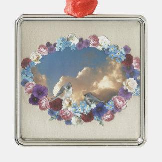 花のリースのシジュウカラ科のカップル シルバーカラー正方形オーナメント