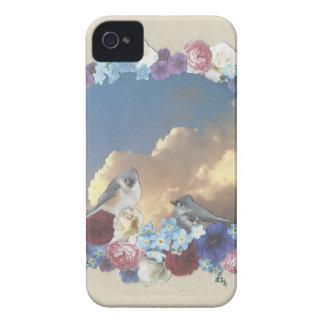 花のリースのシジュウカラ科のカップル Case-Mate iPhone 4 ケース