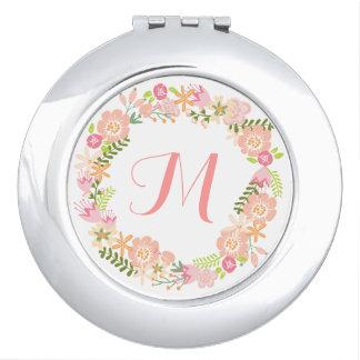 花のリースのモノグラムの鏡のコンパクト