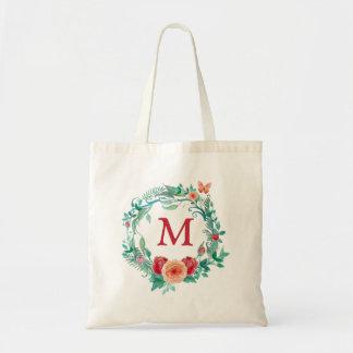花のリースのモノグラム トートバッグ
