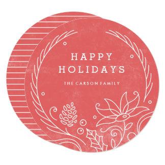 花のリースの休日カード-ヒイラギ 13.3 スクエアインビテーションカード