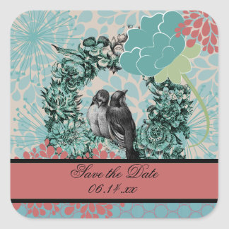 花のリースの愛鳥は日付のステッカーを救います スクエアシール