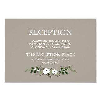 花のリースの披露宴カード-暗灰色 カード