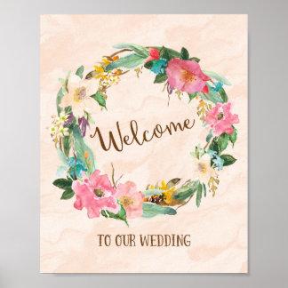 花のリースの歓迎の結婚式ポスタープリント プリント