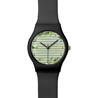 花のリースの水彩画の芸術のはっきりしたな緑の草木は縞で飾ります ウオッチ