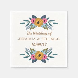 花のリースの白い結婚式のコレクション スタンダードカクテルナプキン