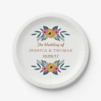 花のリースの白い結婚式のコレクション ペーパープレート