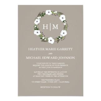 花のリースの結婚式招待状-暗灰色 カード