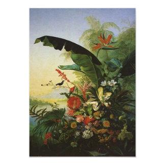 花のルアウ(ハワイ式宴会)の招待状熱帯極楽鳥 カード