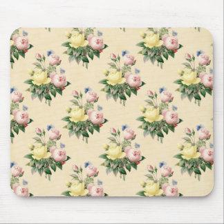 花のヴィンテージのばら色の花模様のmousepad マウスパッド
