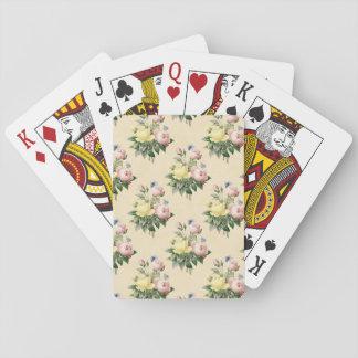 花のヴィンテージのカードを遊ぶばら色の花模様 トランプ