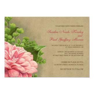 花のヴィンテージのシャクヤクの上品でエレガントな結婚式の招待 カード