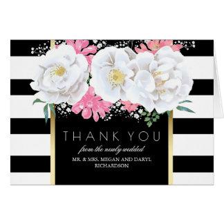 花のヴィンテージの白黒ストライプは感謝していしています カード