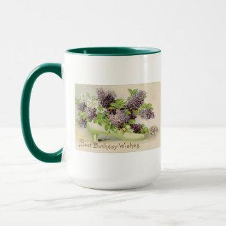 花のヴィンテージの誕生会の花の花びら マグカップ