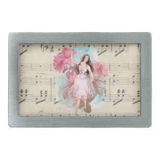 花のヴィンテージ妖精音楽バレリーナのダンサー 長方形ベルトバックル