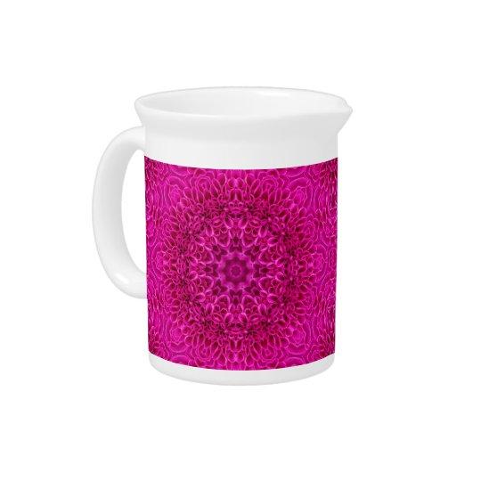 花の万華鏡のように千変万化するパターンの   磁器の水差し ピッチャー