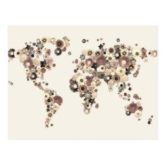 花の世界地図のセピア色 ポストカード