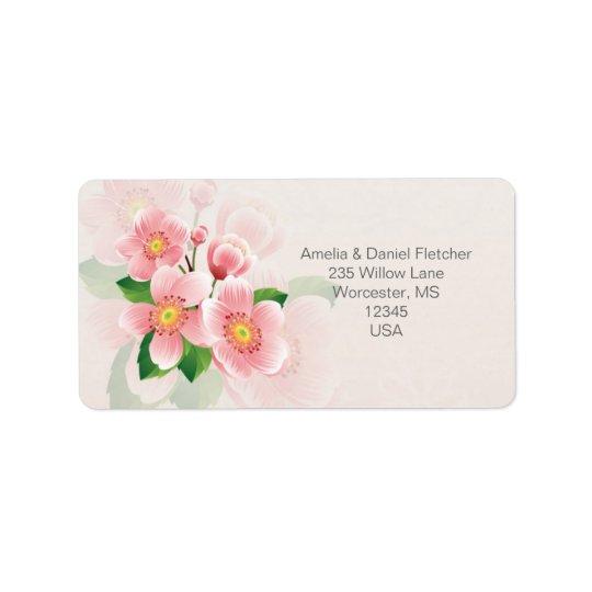 花の住所Averyのピンクのラベル ラベル