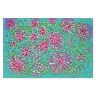 花の催しのカラフルな花の落書きのティール(緑がかった色) 薄葉紙