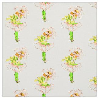 花の児童のイバラのばら色の花の妖精パターン ファブリック