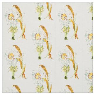 花の児童のトウモロコシの花の花の妖精パターン ファブリック