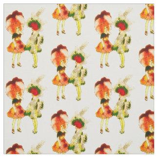 花の児童のパンジーの花の妖精パターン ファブリック