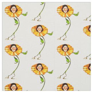 花の児童のヒマワリの花の妖精パターン ファブリック