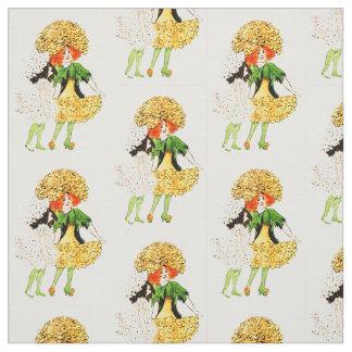 花の児童のマリーゴールドの花の妖精パターン ファブリック