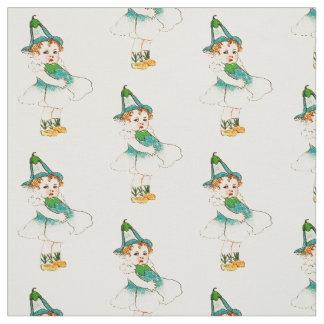 花の児童の亜麻の花の妖精パターン ファブリック