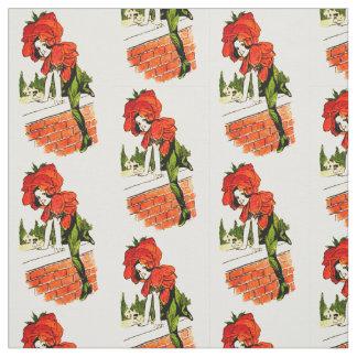 花の児童の深紅色の花の妖精パターン ファブリック