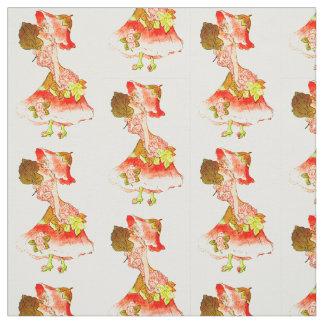 花の児童のHOLLYHOCKの花の妖精パターン ファブリック