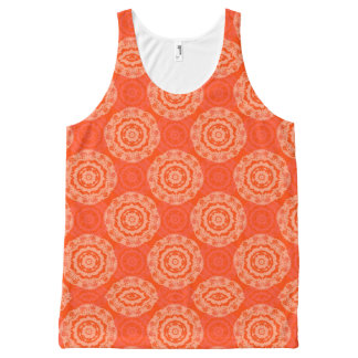 花の円パターンが付いている明るいオレンジパターン オールオーバープリントタンクトップ