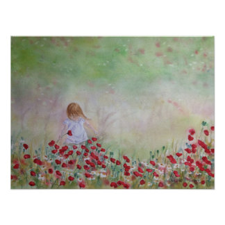 花の分野の子供 ポスター
