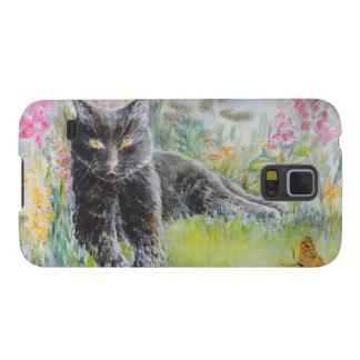 花の分野の黒猫 GALAXY S5 ケース