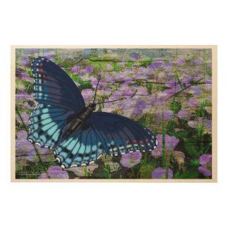 花の分野上の蝶 ウッドウォールアート