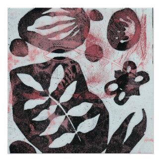 花の化石抽象的なMonoprint ポスター