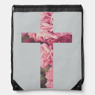 花の十字のドローストリングのパック ナップサック