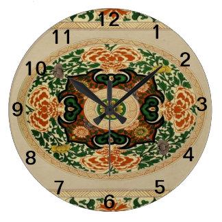 花の多色刷りの曼荼羅パターンアクリルの時計 ラージ壁時計