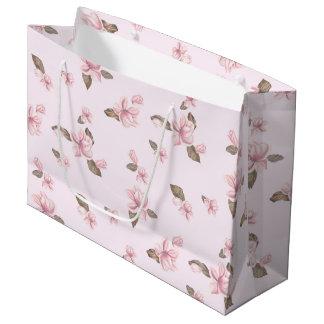 花の大きいピンクの漫画のギフトバッグ- ラージペーパーバッグ