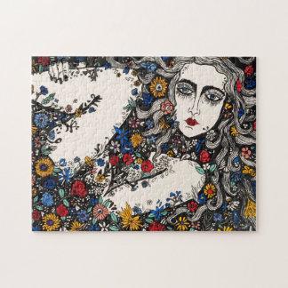 花の女性のパズル ジグソーパズル