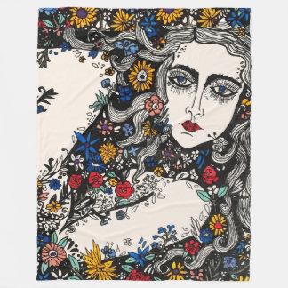 花の女性のフリースブランケット フリースブランケット