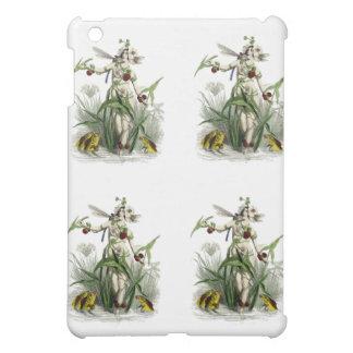 花の女性、トンボ及び魚のIPadの場合 iPad Miniケース