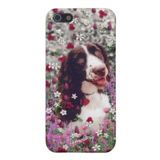 花の女性、ブリッタニースパニエル犬の小犬 iPhone 5 ケース