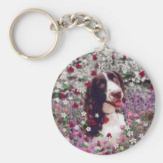 花の女性-ブリッタニースパニエル犬犬 キーホルダー