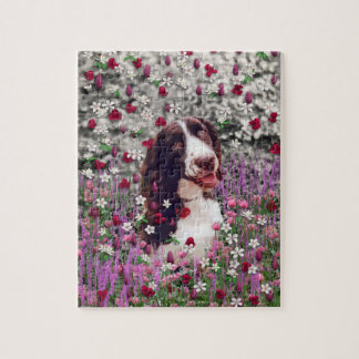 花の女性-ブリッタニースパニエル犬犬 ジグソーパズル