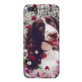 花の女性-ブリッタニースパニエル犬犬 iPhone 5 カバー